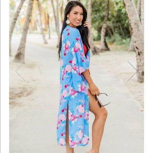 Pink Lily blue floral duster kimono sz L